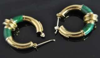 Gaston Lebo Italian Estate Vintage 18K Yellow Gold Green Enamel Hoop