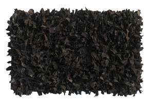 LEATHER Shag SUEDE SHAG RUG 2x3 Black Shaggy Area Rug