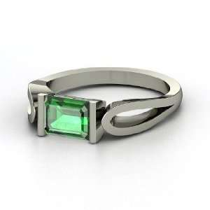 Loop de Loop Ring, Emerald Cut Emerald 14K White Gold Ring