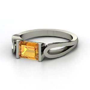 Loop de Loop Ring, Emerald Cut Citrine 14K White Gold Ring