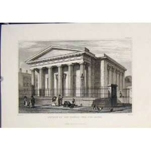 Church School Blind Fine Art Antique Old Print C1832