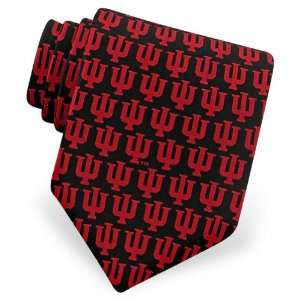 Mens Indiana University Logo Silk Tie by NCAA in Black