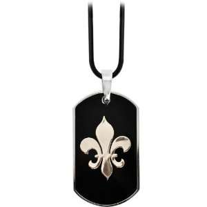 316L Stainless Steel Black Gold Plated Fleur De Lis Dog Tag Pendant