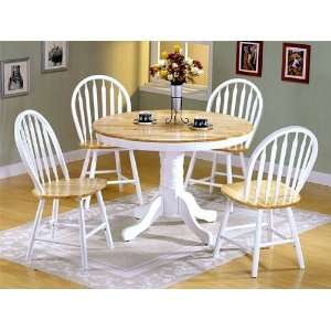 Wood Round Dining Table +4 Windsor Chairs Set Furniture & Decor