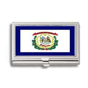 West Virginia State Flag Business Card Holder Metal Case