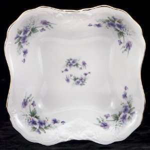 Violet Fine China Square Serving Bowl: Home & Kitchen