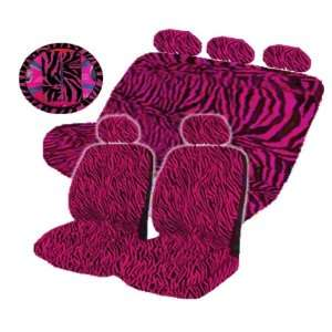 14 Pieces Hot Pink Zebra Low Back Front Seat Covers Steering Wheel and