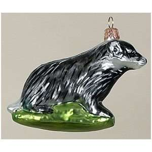 Badger Animal Glass Christmas Tree Ornament: Home