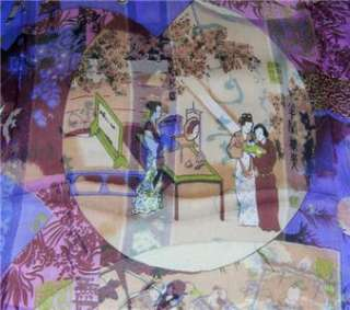 Purple and Pink Oblong Silk Scarf Painting The Ancients