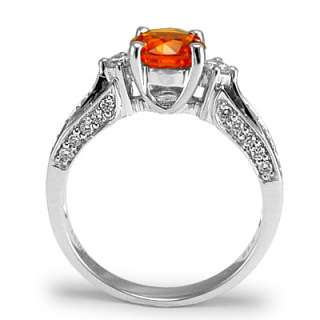 Gold Orange Sapphire Diamond Ring Ring Sizes 4 to 9.5 #R1460