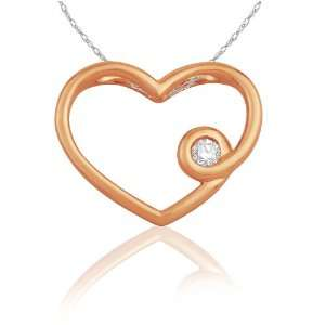 Heart Diamond Pendant (0.05 cttw, G H color, I2 Clarity), 18 Jewelry