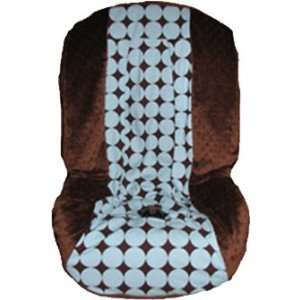 Car Seat Cover   Darling Dot Cocoa Blue Toddler Car Seat Cover Baby