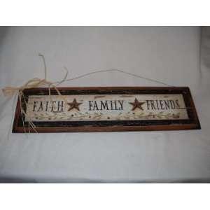 Faith Family Friends Country Wall Art Sign Barn Stars Primitive Decor
