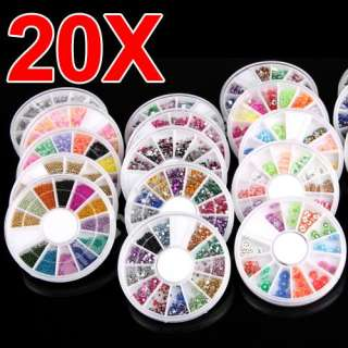 20 Wheel Nail Art Fimo Glitters Rhinestones Decoration