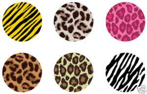 ANIMAL PRINT pins buttons leopard tiger zebra punk emo