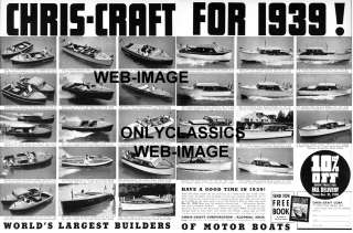 1939 CHRIS CRAFT WOOD MOTOR BOAT ADVERTISING  AD POSTER |