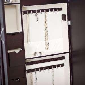 Bordeaux Cheval Mirror Jewelry Armoire Jewelry Organizer Espresso New