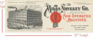 Mills Novelty Ad Poster San Francisco Building 1908 Antique Slot