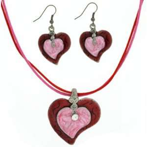 Ladies and Girls Charming Cute Pink and Red Cecilia Heart Necklace