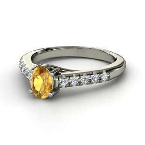 Boulevard Ring, Oval Citrine 14K White Gold Ring with Diamond Jewelry