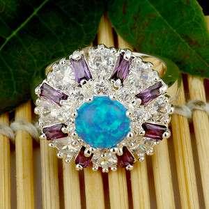 Blue Opal Amethyst White Topaz Jewelry Gemstone Silver Ring Size sz #8