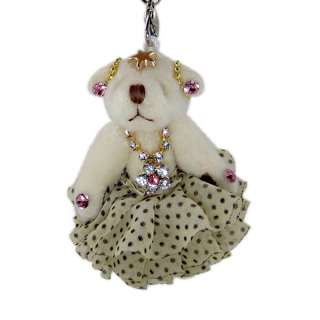 Teddy Bear White Skirt Key Chain Purse Charm Jeweled