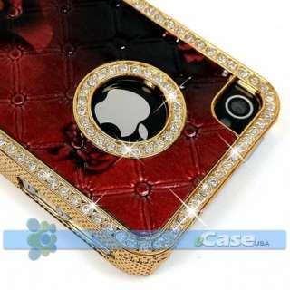 ROSE Flower Print Diamond Rhinestone Crystal Bling Frame Case Cover