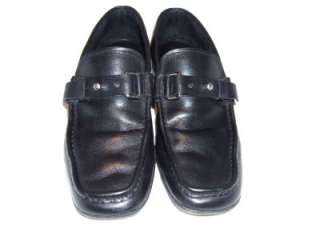 PRADA MENS BLACK LEATHER LOAFER SHOES SIZE 7 MADE IN ITALY