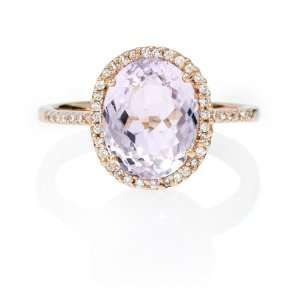 Diamond and Pink Amethyst 14k Rose Gold Ring Jewelry