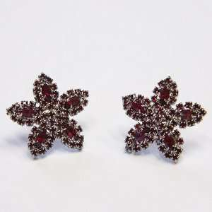 Exclusive Strass Earrings, Siam/Paladium, High Quality