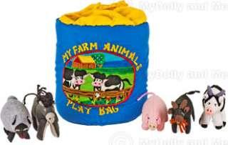 Farm Cloth Bag W/5 Farm Animals Childrens Toy Baby Gift