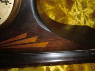 ANTIQUE ORIGINAL NEW HAVEN MANTEL SHELF INLAY WOOD CLOCK