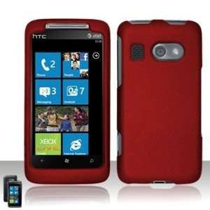 Maroon Red Solid Color Rubberized Texture HTC Surroung 8788 Snap on