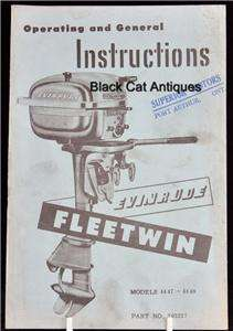 Boat Owners Manual Evinrude 7.5 HP Fleetwin # 4447 4448