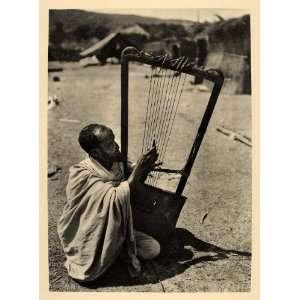 1930 Ethiopian Begena King Davids Harp Musician Africa