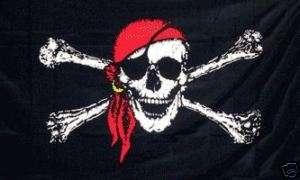 x5 JOLLY ROGER RED BANDANA PIRATE FLAG BIG SKULL 3X5
