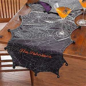 Personalized Halloween Table Runner   Spider Web