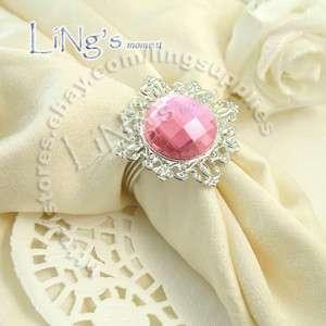 12 Pink Gem Napkin Rings Wedding Bridal Shower Favor