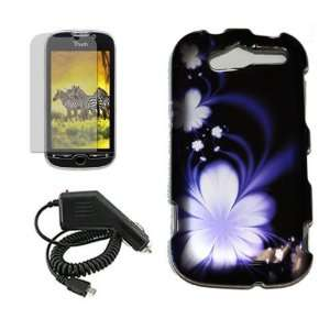 HTC MYTOUCH 4G BLUE LOTUS FLOWER CASE, RAPID CAR CHARGER, LCD SCREEN