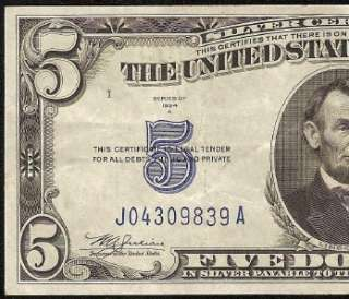 1934 A $5 DOLLAR BILL SILVER CERTIFICATE BLUE SEAL NOTE Fr 1651 CRISP