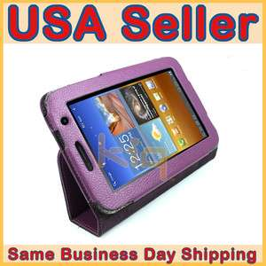 Purple Folio Leather Case Cover Skin w/ Stand for Samsung Galaxy Tab 7