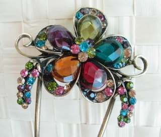 VARY COLORS SWAROVSKI CRYSTAL BIG BRONZE FLOWER HAIR STICK PIN PICK