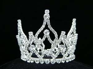 Bridal Prom Wedding Crystal Crown Mini Bun Tiara 6085