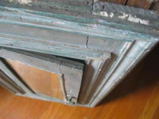 Antique Hanging Corner Cupboard Cabinet Blue Paint Mirror Primitive SE