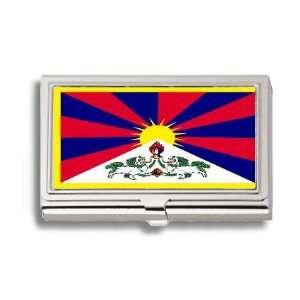 Tibet Tibetan Flag Business Card Holder Metal Case Office