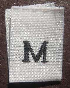 100 WHITE WOVEN CLOTHING LABELS SIZE TAGS   MEDIUM   M