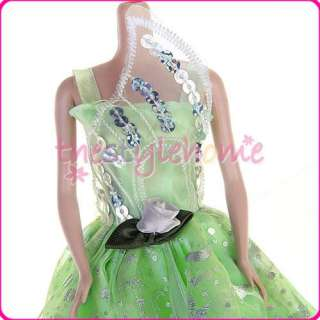 Lime Princess Party Gown Dress for Barbie Blythe Dolls