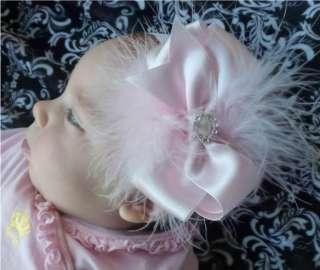 pink white damask baby girl headband marabou feathers bow infant