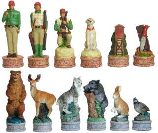 Chess Set Pieces Hunters and Prey NIB