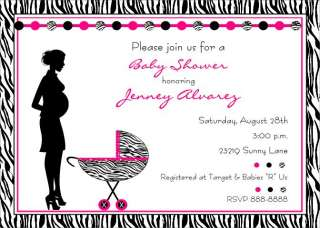 ZEBRA PRINT BABY SHOWER INVITATIONS, PINK BLUE OR GREEN